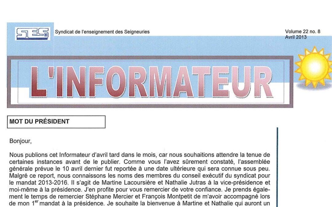 L'Informateur – Avril 2013
