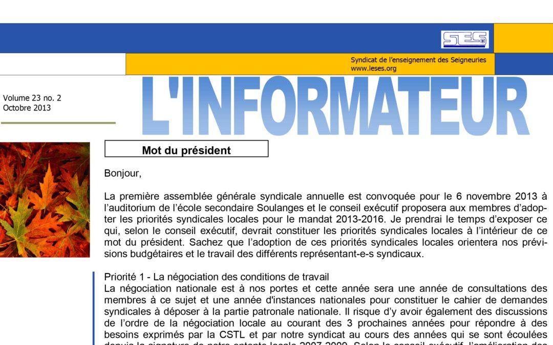 L'Informateur – Octobre 2013