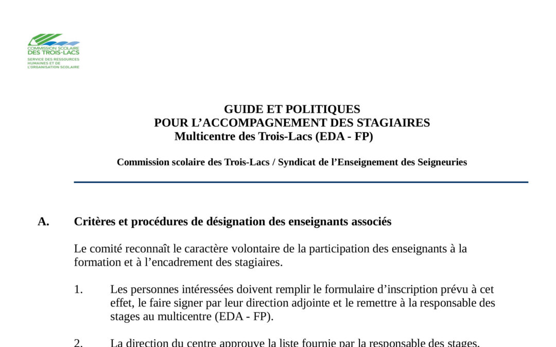 Guide et politiques pour l'accompagnement des stagiaires au Multicentre (EDA/FP)