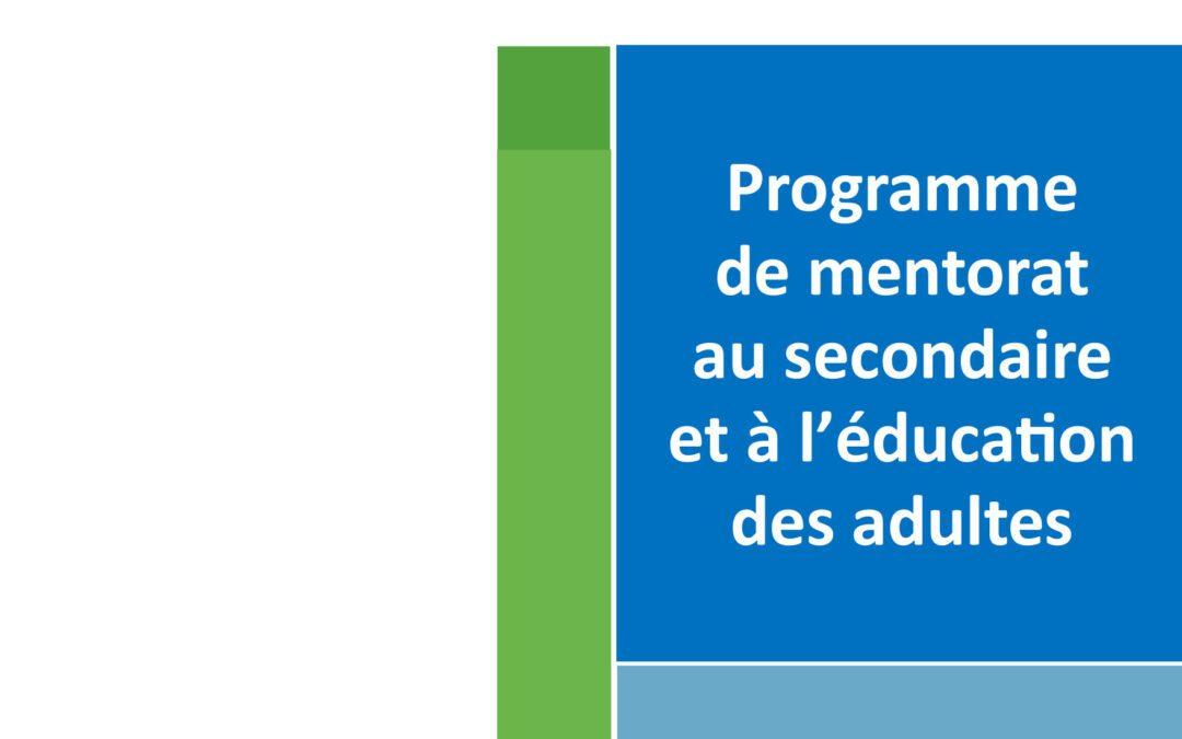 Dépliant pour mentoré-e-s Secondaire et EDA