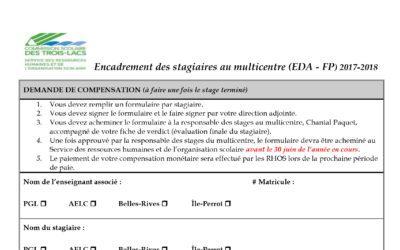 Demande de compensation – encadrement des stagiaires multicentre EDA/FP