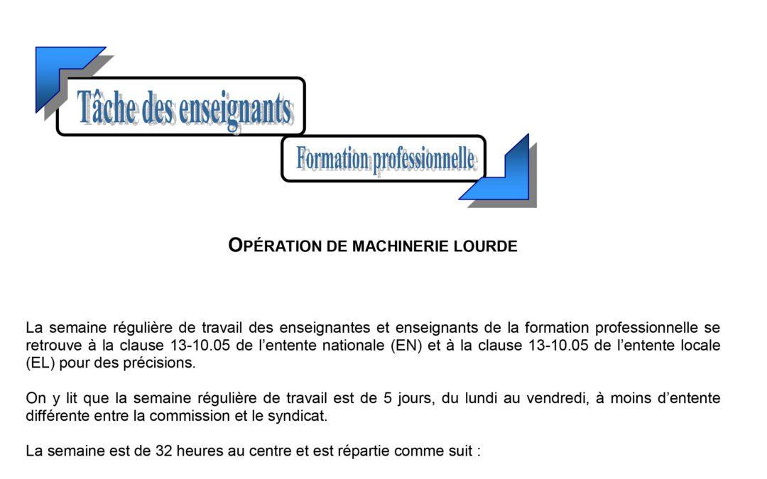 Tâche de l'enseignant – Opération de machinerie lourde – formation professionnelle