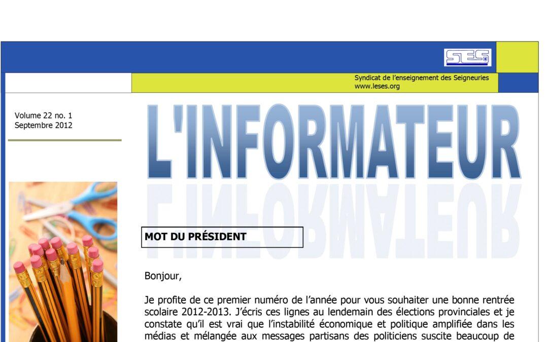 L'Informateur – Septembre 2012