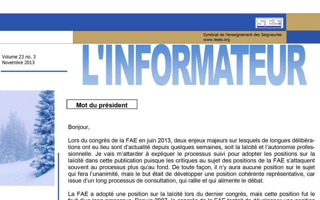 L'Informateur – Novembre 2013