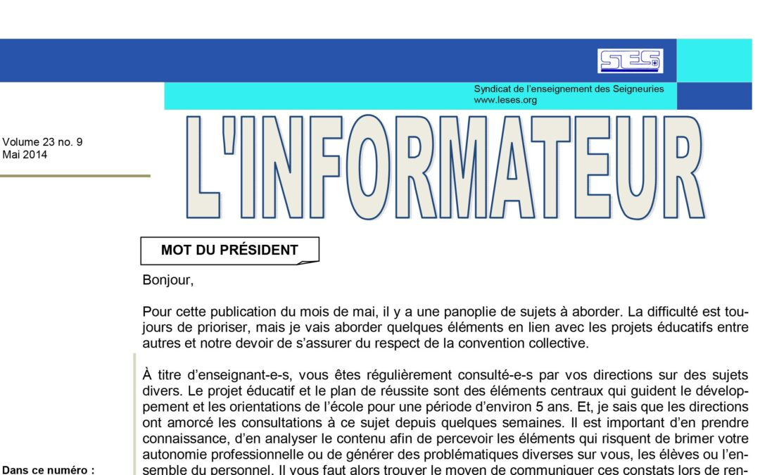 L'Informateur – Mai 2014