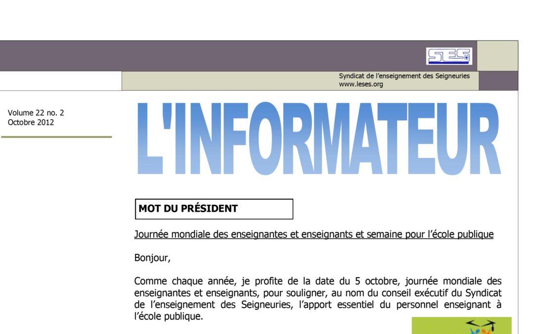 L'Informateur – Octobre 2012