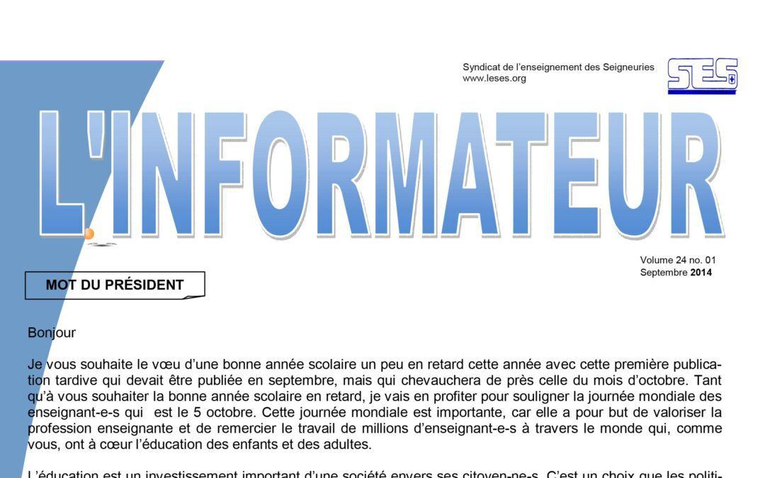 L'Informateur – Septembre 2014