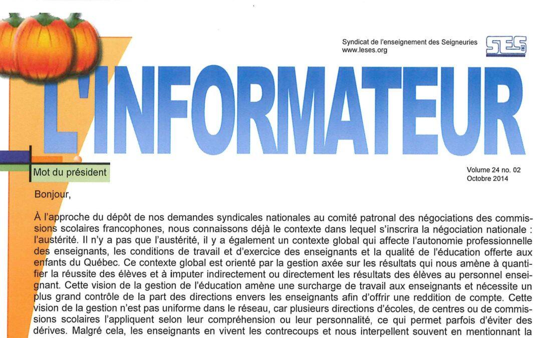 L'Informateur – Octobre 2014