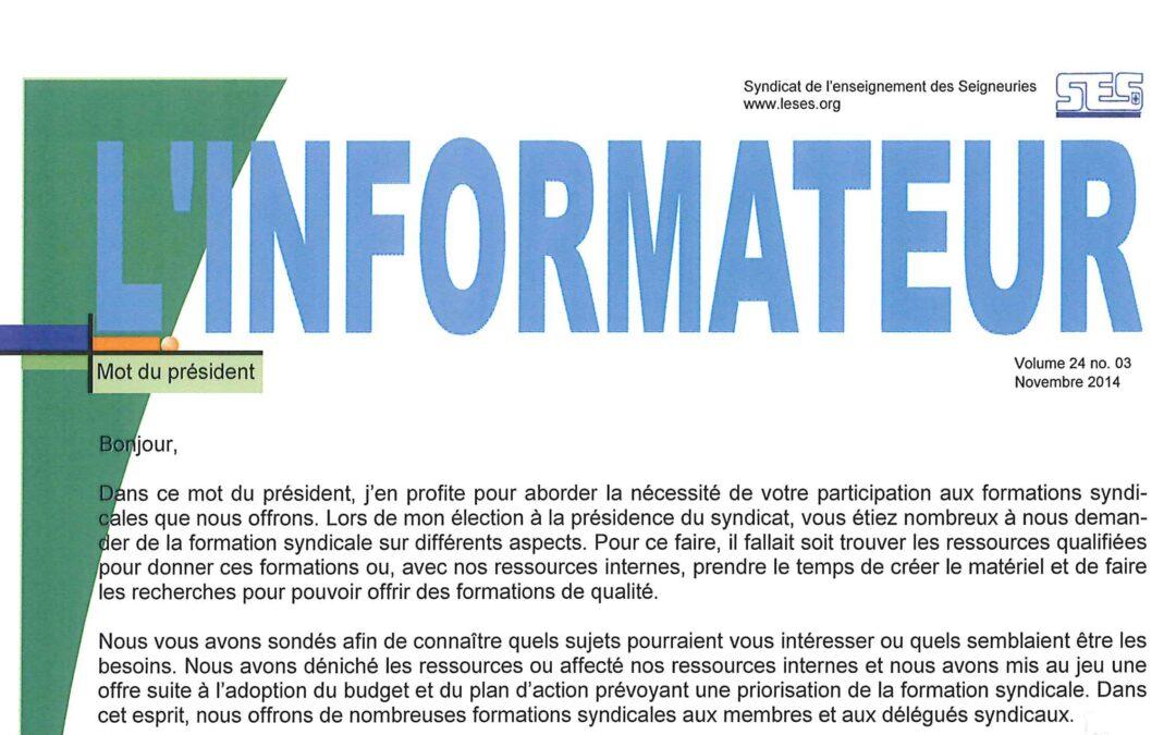 L'Informateur – Novembre 2014