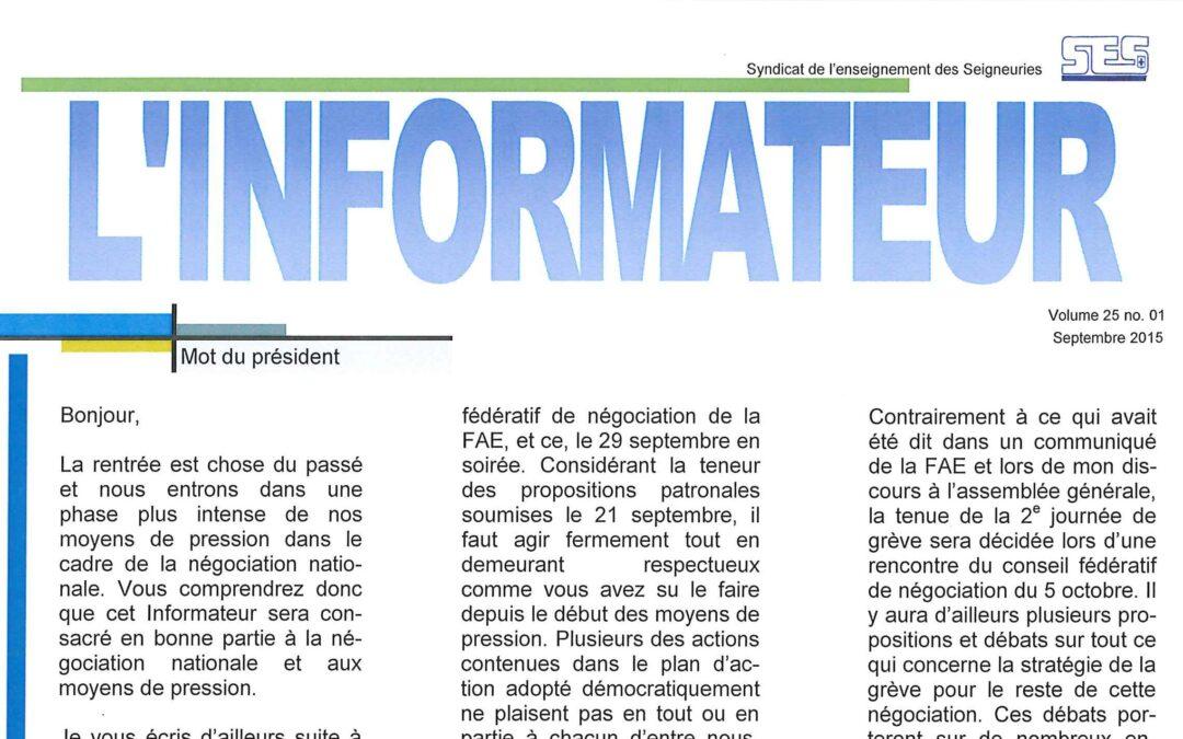 L'Informateur – Septembre 2015