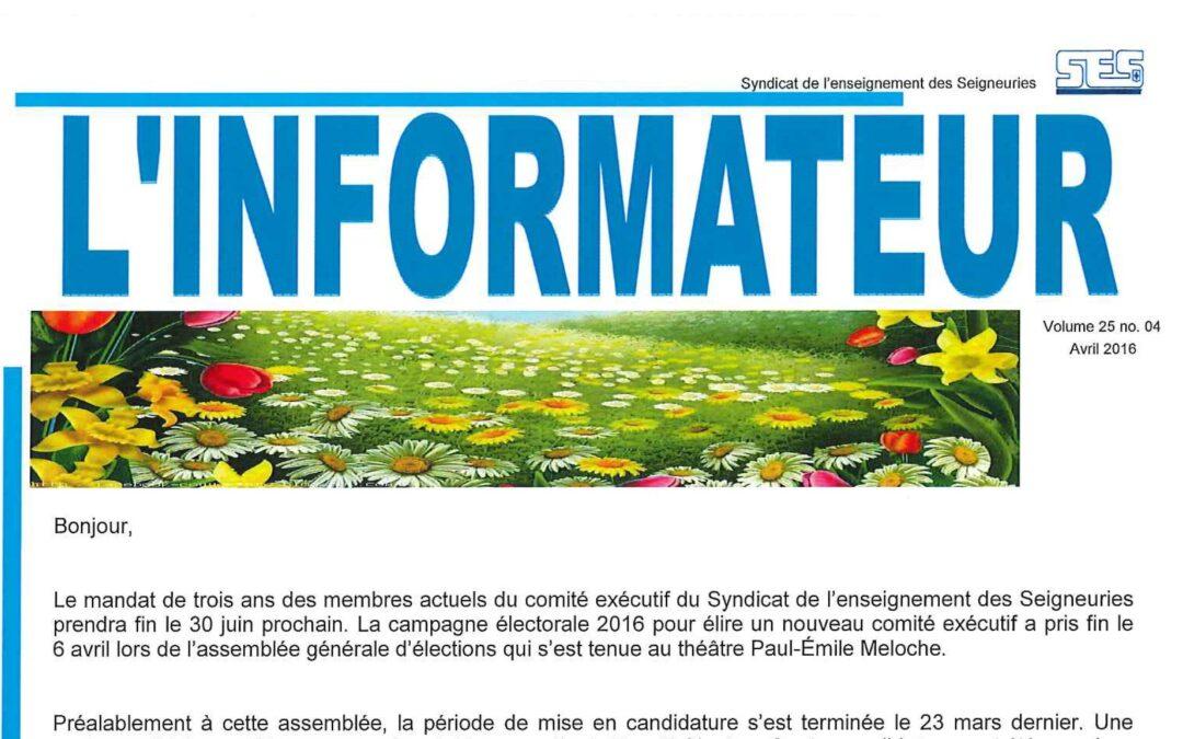 L'Informateur – Avril 2016