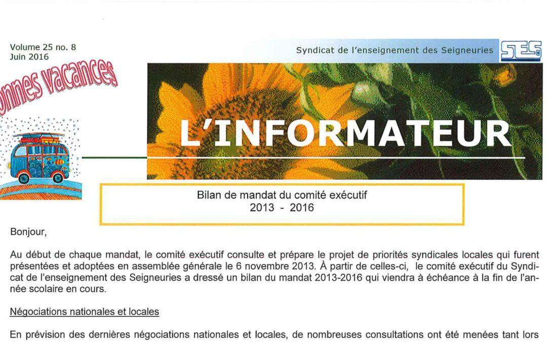 L'Informateur – fin Juin 2016