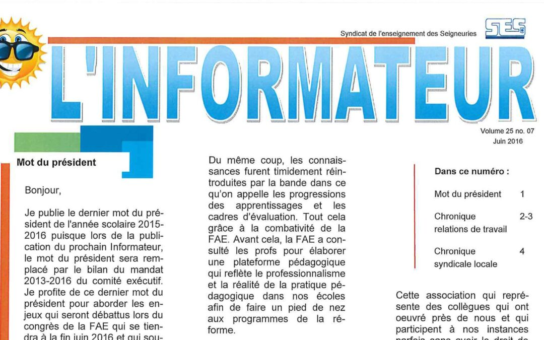 L'Informateur – Juin 2016