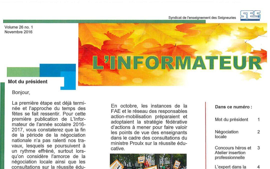 L'Informateur – Novembre 2016 – Volume 26 no. 1