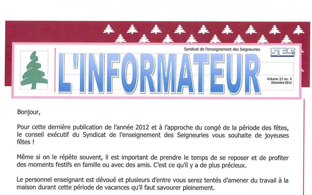 L'informateur – Décembre 2012