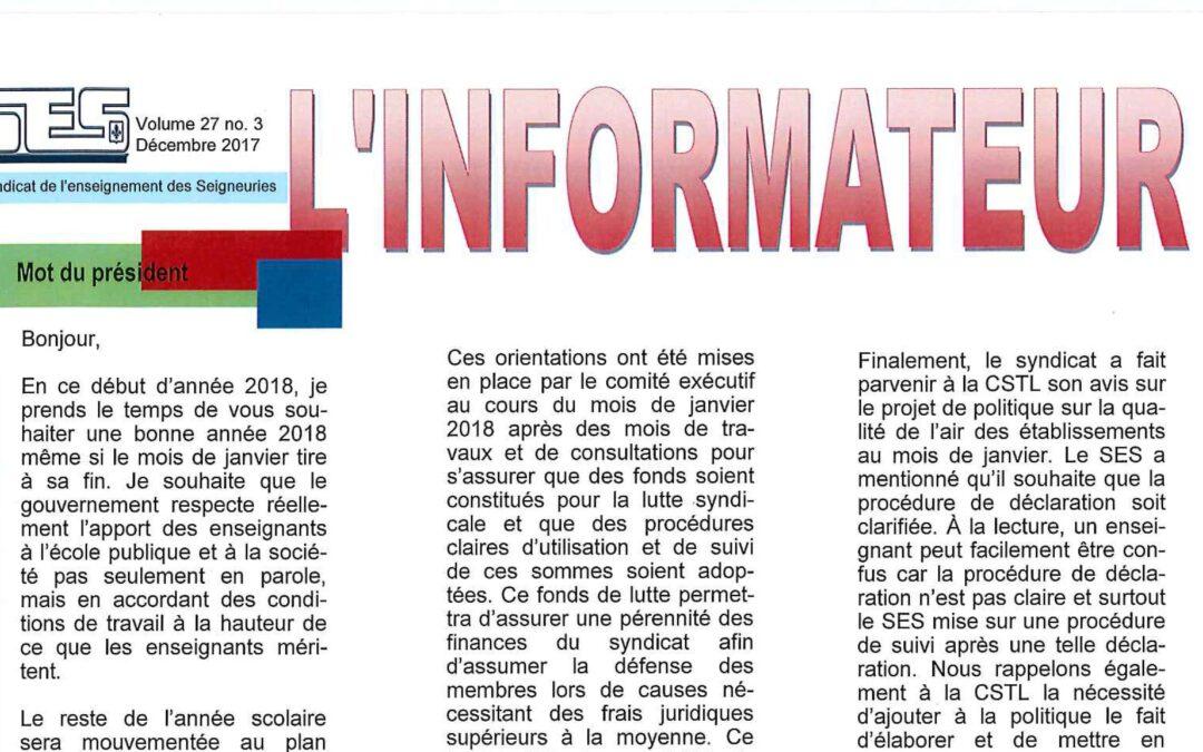 L'Informateur – Décembre 2017 – Volume 27 no. 3