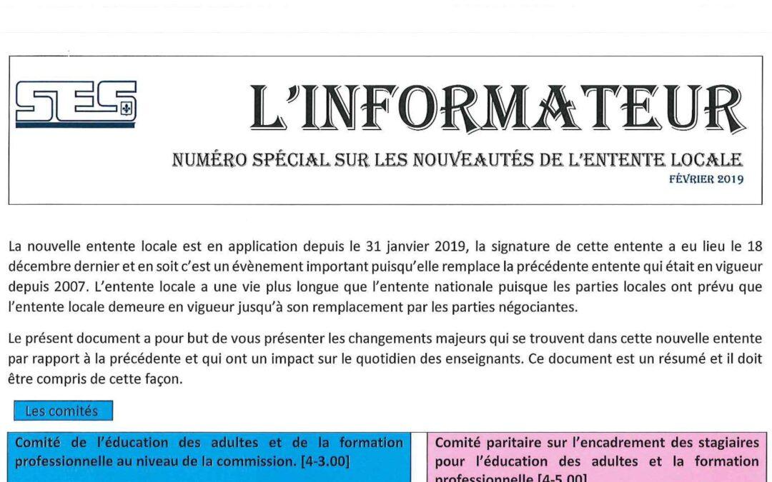 L'Informateur – Février 2019 – Numéro spécial sur les nouveautés de l'Entente locale