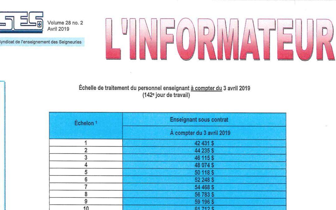 L'Informateur – Avril 2019 – Échelle de traitement salarial et Défi des Allié-e-s