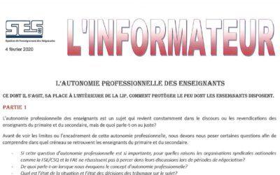 L'Informateur – Autonomie professionnelle partie 1 – Février 2020