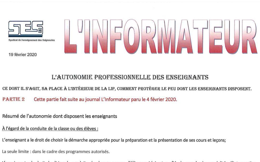 L'Informateur – Autonomie professionnelle partie 2 – Février 2020