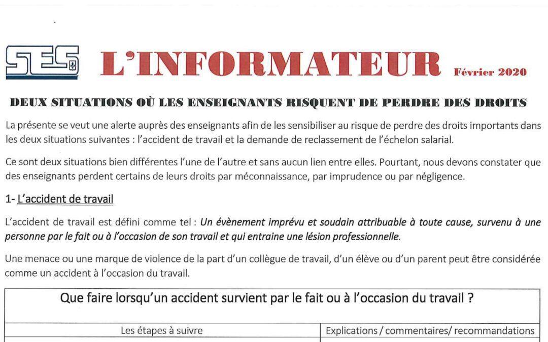 L'Informateur – Accident de travail – Février 2020