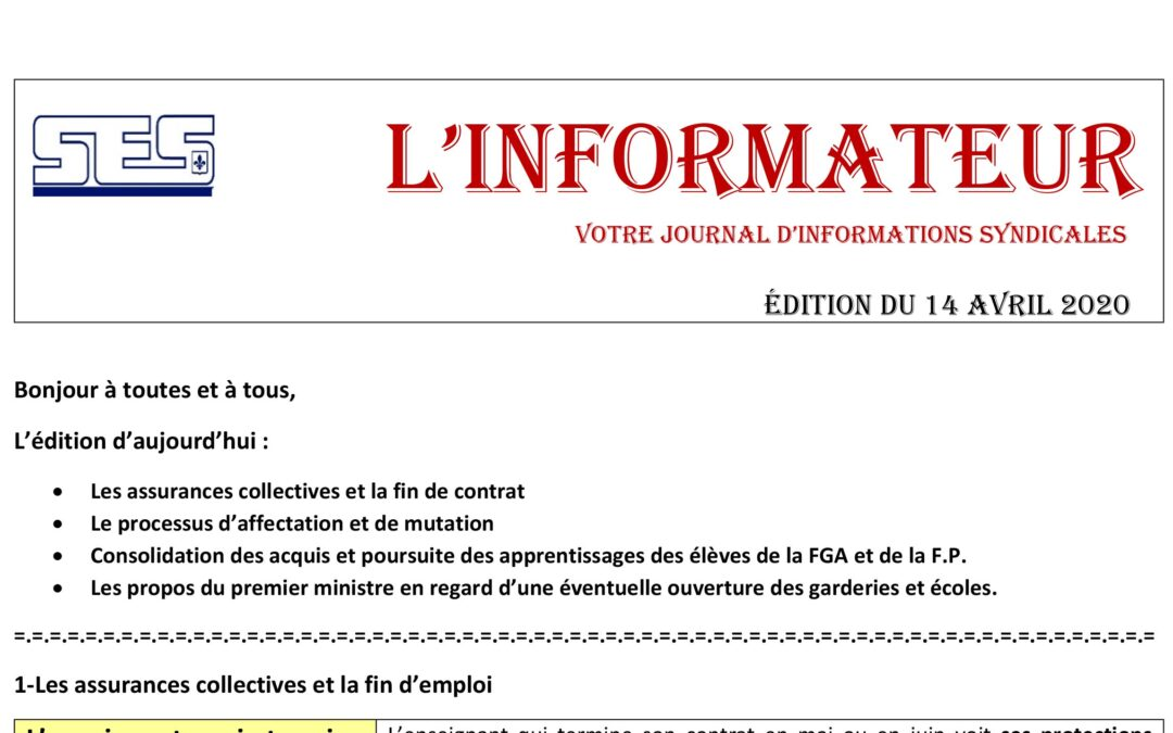 L'Informateur – 14 Avril 2020