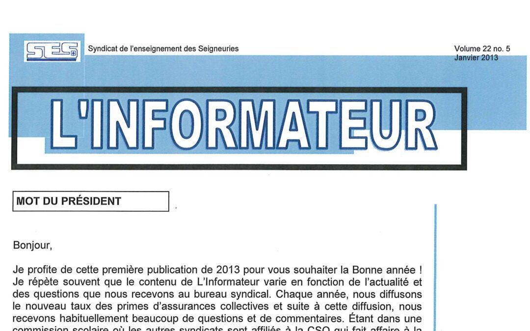 L'Informateur – Janvier 2013