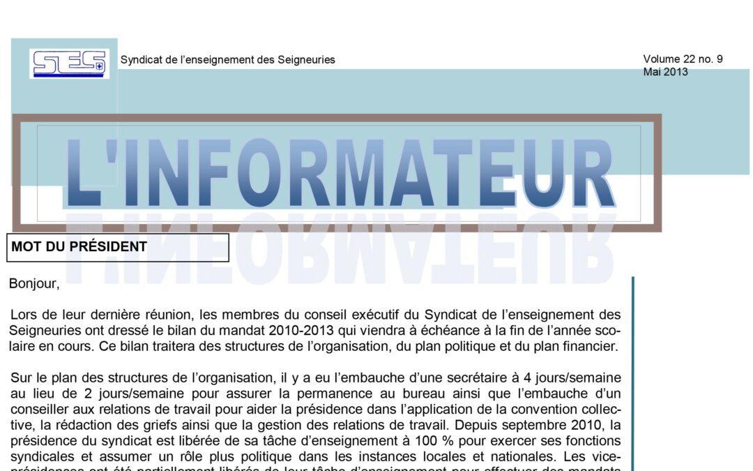 L'Informateur – Mai 2013