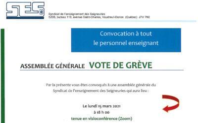 Assemblée générale – vote de grève