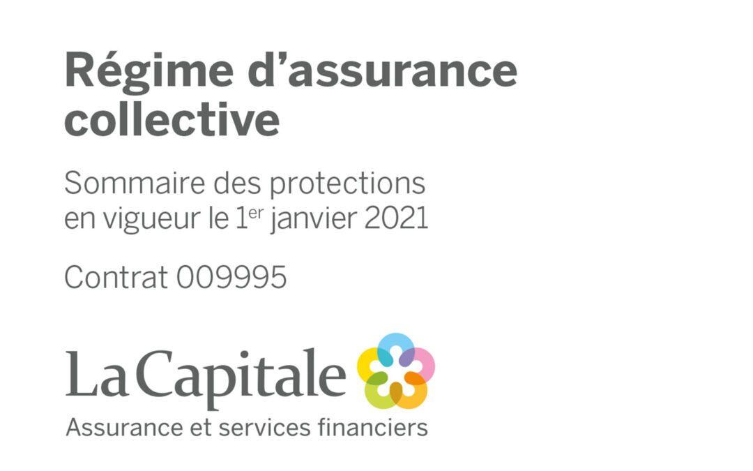 Régime d'assurance collective : Sommaire des protections en vigueur le 1er janvier 2021